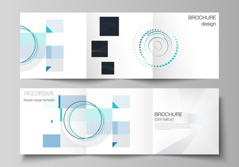 The minimal vector editable layout of two square format covers design templates with simple geometric background made from dots, circles, rectangles for trifold square brochure, flyer, magazine.