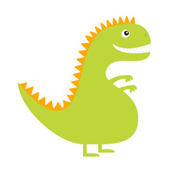 Dinosaur. Cute cartoon funny dino baby character. Flat design. Green and yellow color. White background. Isolated