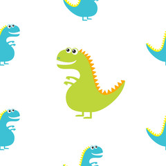 Dinosaur isolated on white background. Cute cartoon funny dino baby character. Flat design. Seamless Pattern. Wrapping paper, textile template. Blue background. Flat design