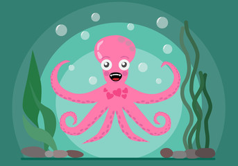 Happy octopus swimming in the sea