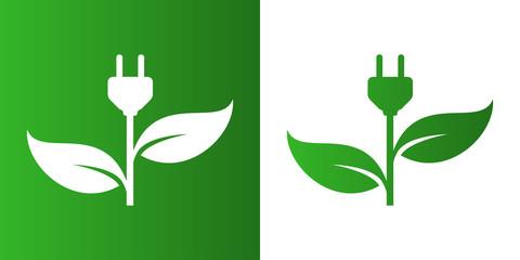 Icono plano enchufe con hojas en verde y blanco