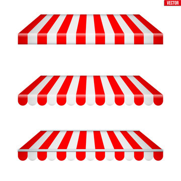 Set of rectangular fabric awnings. Solar shade screens and retractable awnings. Red strip color. Vector illustration isolated on background.