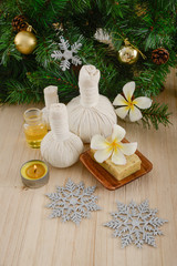 Foto op Plexiglas Spa Christmas spa with Composition of treatment and wooden background
