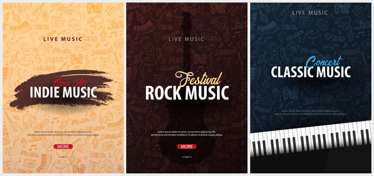 Rock, Classic, Indie Music Festival. Open Air. Set of Flyers design Template with hand-draw doodle on the background.