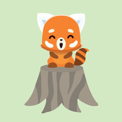 Vector illustration of red panda cartoon style on pastel background.