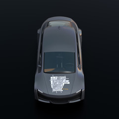 Front view of metallic gray electric car with car sharing graphic pattern on hood. Black background. 3D rendering image.
