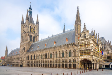 View at the Cloth hall and City hall at the Grote markt of Ypres in Belgium