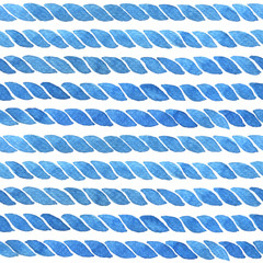 Watercolor background with lines of rope in blue. Hand painted seamless pattern