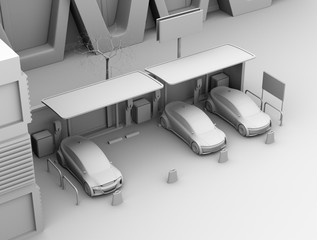 Clay shading rendering of electric cars in car sharing only parking lot. 3D rendering image.