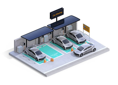 Isometric view of parking lot equipped with charging station, solar panel. Car sharing business. White background. 3D rendering image.