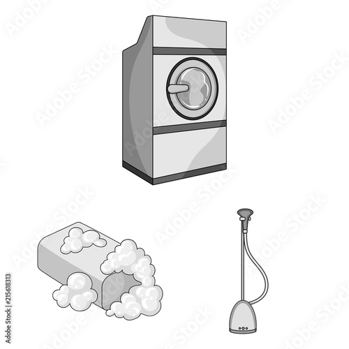 Dry Cleaning Equipment Monochrome Icons In Set Collection For Design