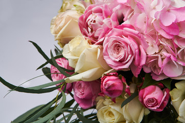 Bouquet of flowers close up. Beautiful photo collage for floral design and card celebration.