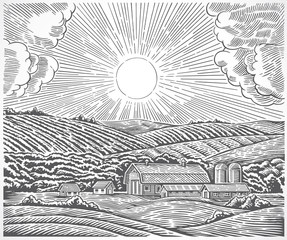 Rural landscape with a farm and with the sun in the sky, made in engraving style.