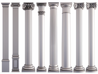 Metal columns on a white background. Isolated Fototapete