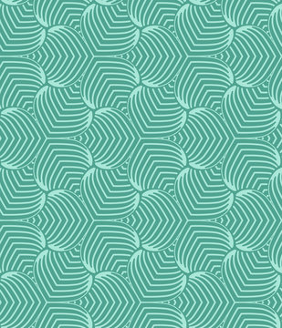Green geometric stylized succulent leaves pattern Graphic floral background. Vector seamless repeat.