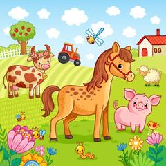 Pets graze near the farm. Vector illustration with cute farm in a children's, cartoonish style.