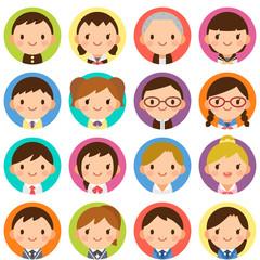 様々な学生 男女 顔 かわいい フラット丸アイコン セット