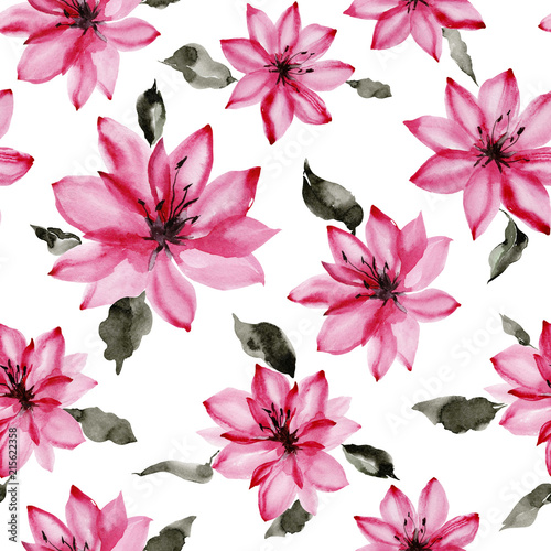 Beautiful pink flowers with leaves on white background seamless beautiful pink flowers with leaves on white background seamless floral pattern watercolor painting mightylinksfo