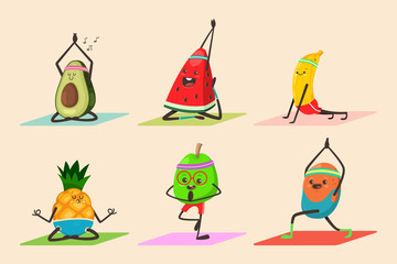 Cute fruit and vegetables doing yoga poses exercises. Funny vector cartoon food character set isolated on background. Eating healthy and fitness