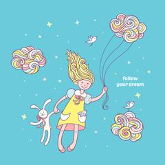 Follow you dream. Cute hand drawn card for kids.