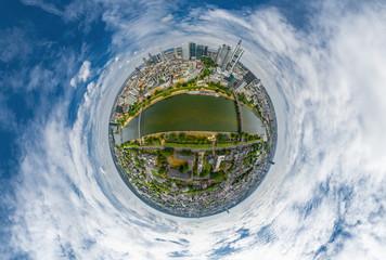 Sphärische Little Planet Aufnahme Frankfurt am Main