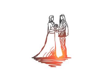 Wedding, groom, bride, couple, muslim concept. Hand drawn isolated vector