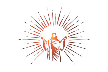 God, Jesus christ, grace, good, ascension concept. Hand drawn isolated vector. Wall mural