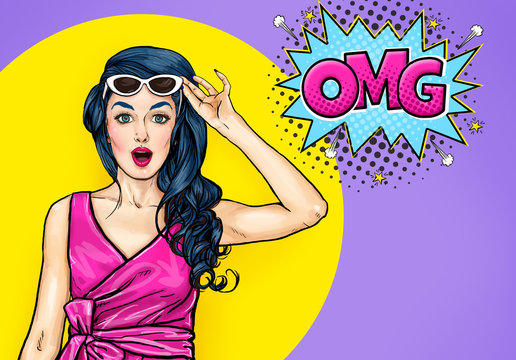 Surprised young sexy woman with open mouth in sunglasses in comic style. Amazed lady saying OMG. Pop Art girl with shocked face.