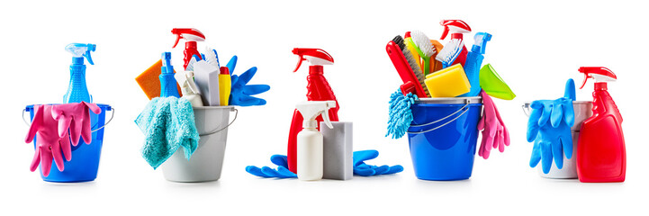 Cleaning buckets set Wall mural