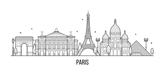 Wall Mural - Paris skyline France city buildings vector
