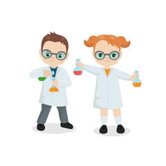 Scientist kids vector