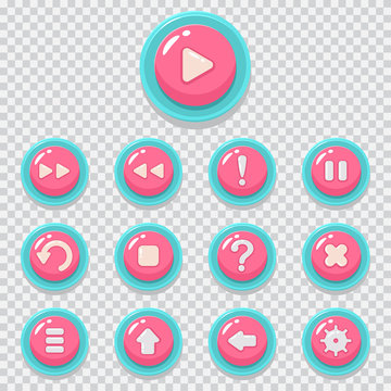 2D game button vector cartoon icons set. UI kit web element for mobile app isolated on a transparent background.