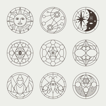 Mystical occult tattoos, witchcraft circles, sacred signs, elements and symbols. Vector geometric magic icons set isolated on white background.