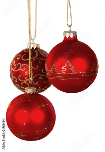 Red Shiny Christmas Decorative Balls Isolated On White Stock Photo