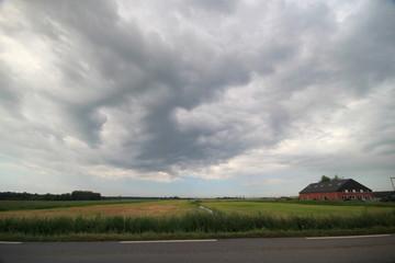 Cumulonimbus clouds above the Zuidplaspolder in Moordrecht, The Netherlands