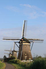 Three windmills on a row to keep the Driemanpolder dry in Stompwijk, Leidschendam the Netherlands.