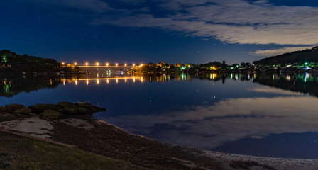 Reflections of Night on the Bay and Rip Bridge