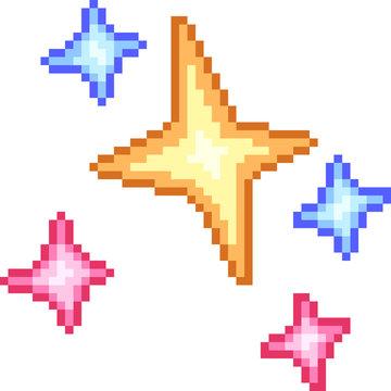 vector pixel art star effect