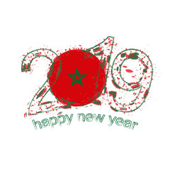 Happy New 2019 Year with flag of Morocco. Holiday grunge vector illustration.