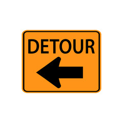USA traffic road signs. detour to the left. vector illustration
