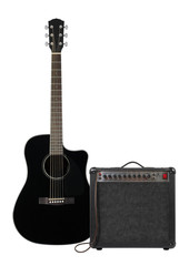 Music and sound - Black electro acoustic guitar, amplifier and cable front view isolated
