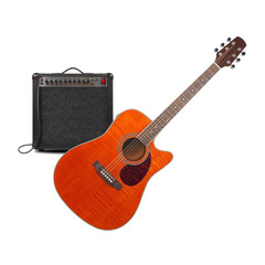 Music and sound - Orange electro acoustic guitar, amplifier and cable front view isolated