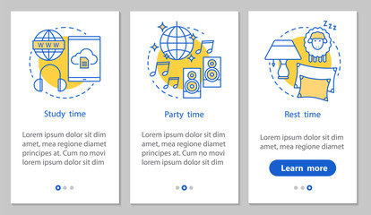 Study, party and rest time onboarding screen