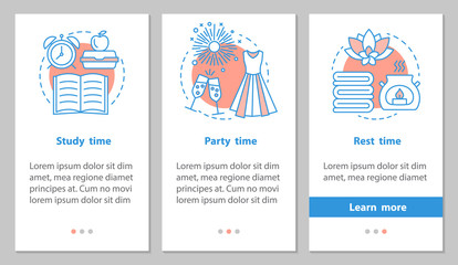 Study, party and rest time onboarding mobile app page screen wit
