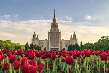 Moscow city skyline at Lomonosov Moscow State University, Moscow Russia