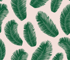 Tropical palm leaves Pattern. Seamless Vector Background.