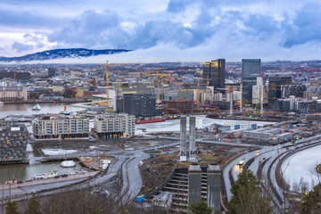 Oslo aerial view city skyline at business district and Bercode Project, Oslo Norway