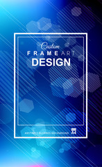 Abstract Geometric colorful background with high saturated gradients and different geometrical shape with frame template