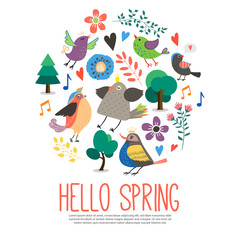 Wall Mural - Flat Hello Spring Round Concept