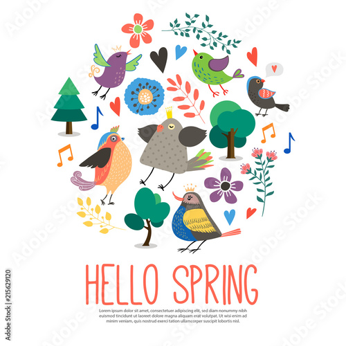 Wall mural Flat Hello Spring Round Concept